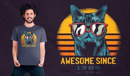 Impresionante diseño de camiseta de gato