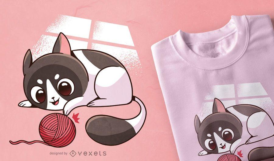 Diseño lindo de la camiseta del gato que juega