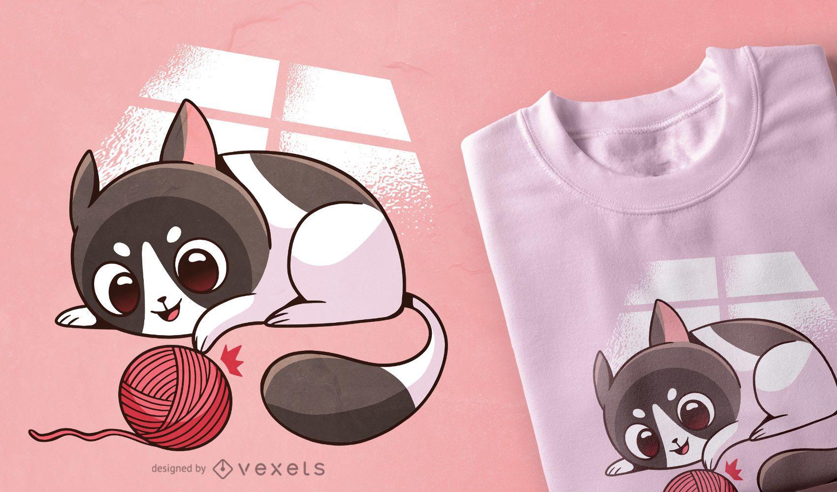 Cute cat playing t-shirt design