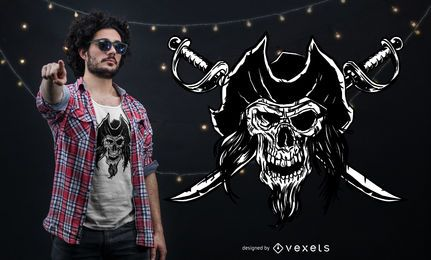 Diseño de camiseta calavera pirata