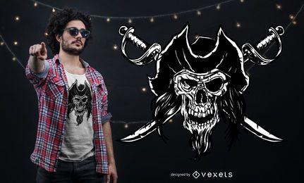 Diseño de camiseta de calavera pirata