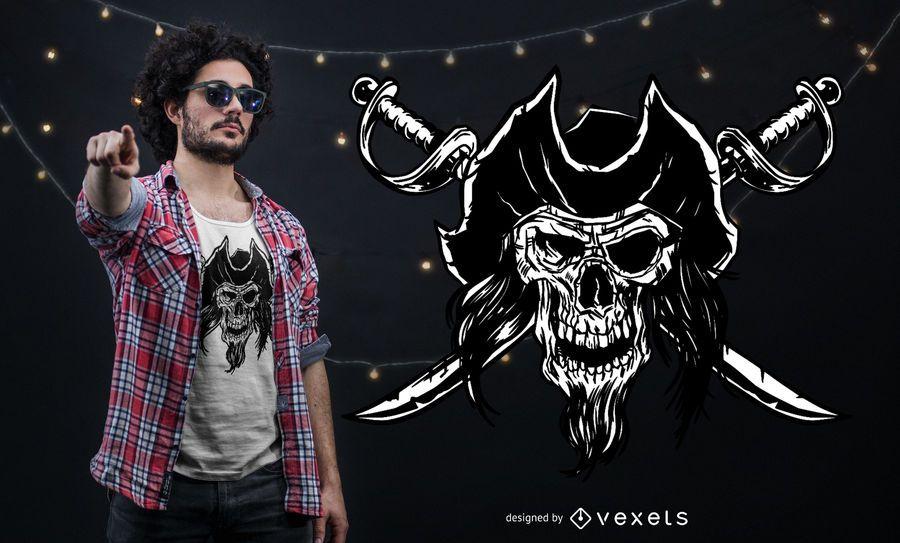 Projeto do t-shirt do crânio do pirata