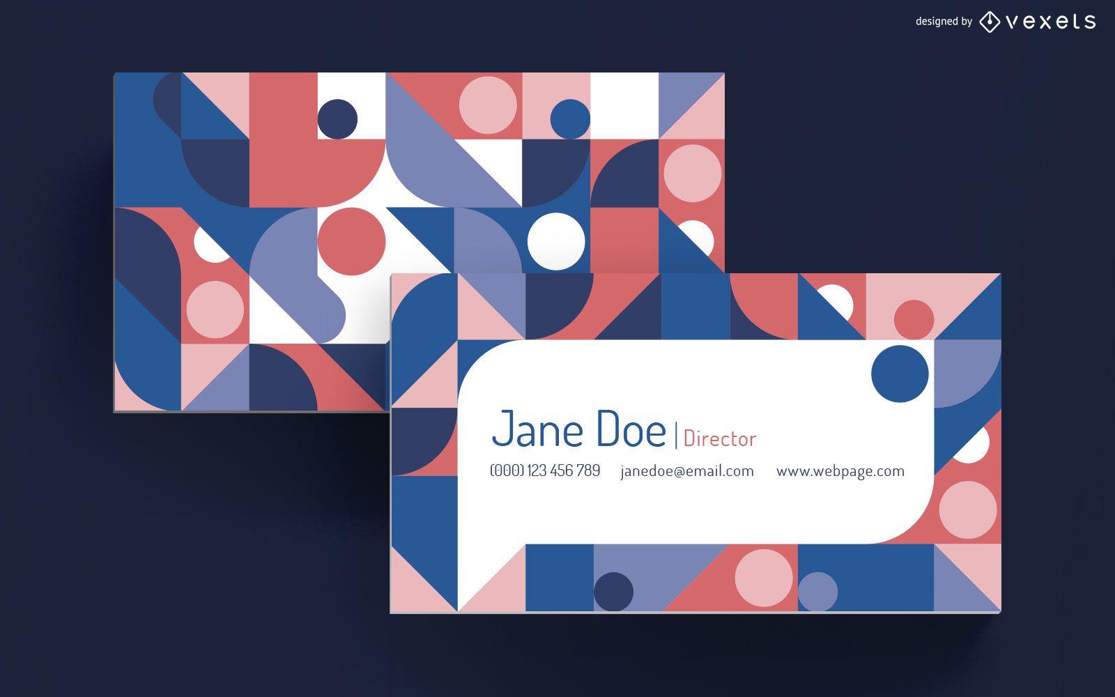 Geometric speech bubble business card