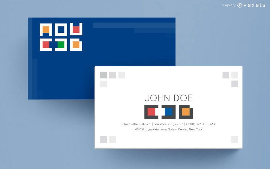 Business card geometric squares