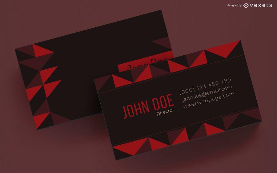 Diseño de tarjeta de visita con triángulos geométricos.