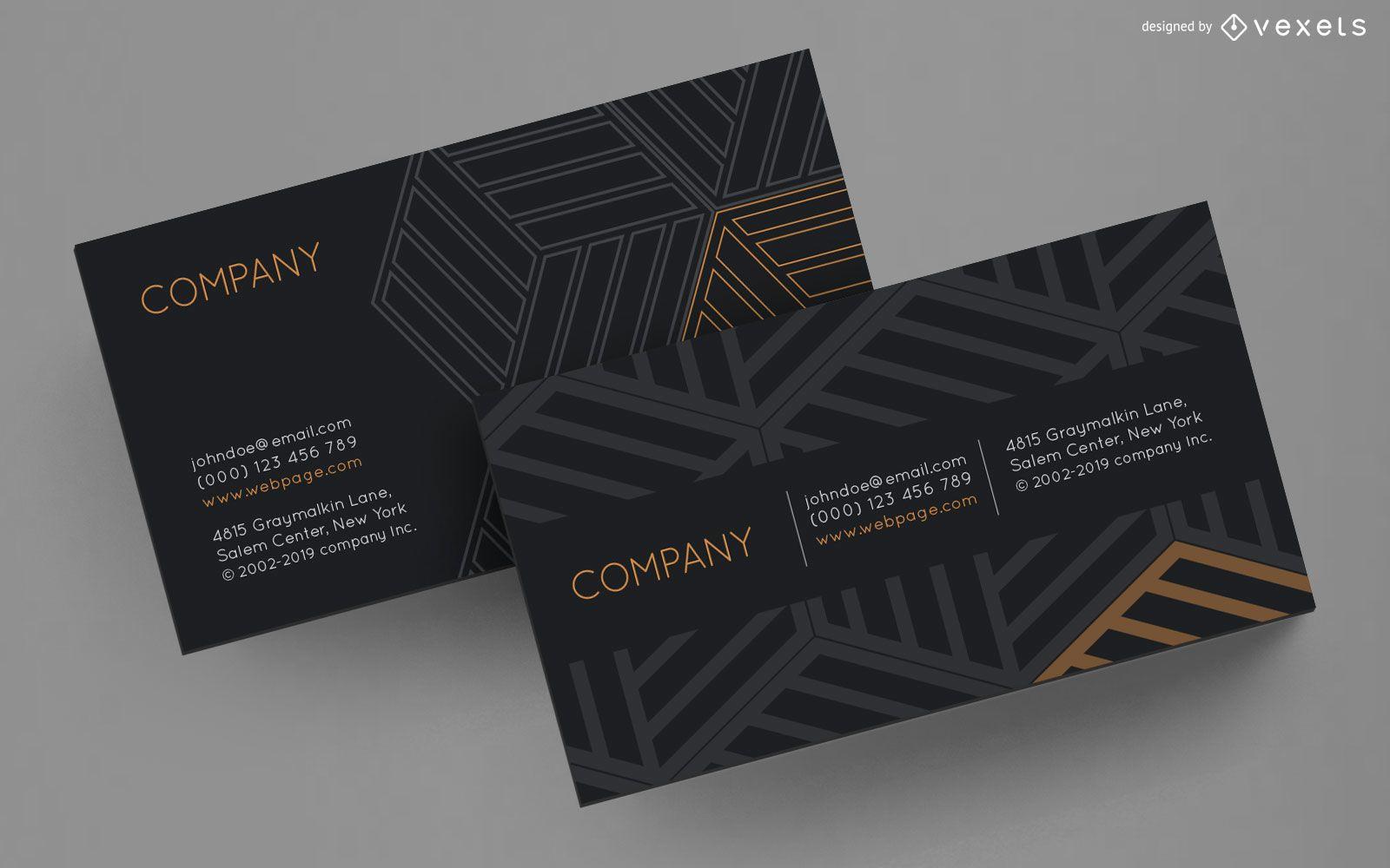 Business card striped cubes design