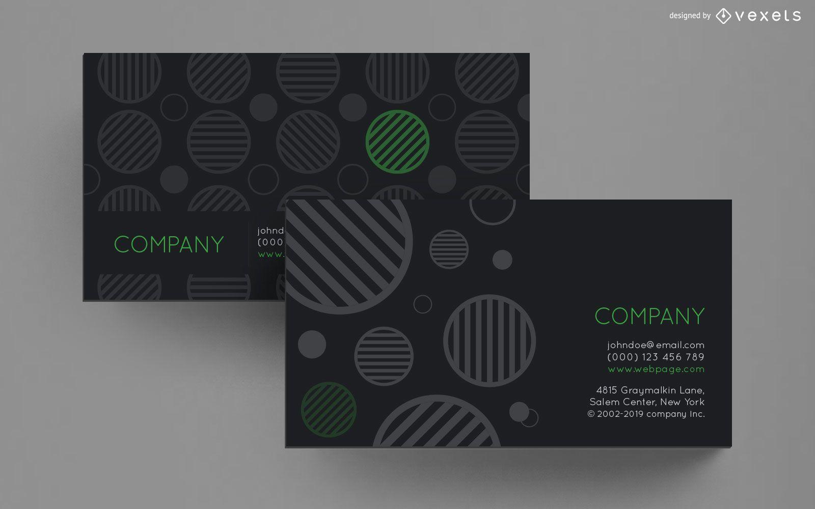 Business card striped circles design