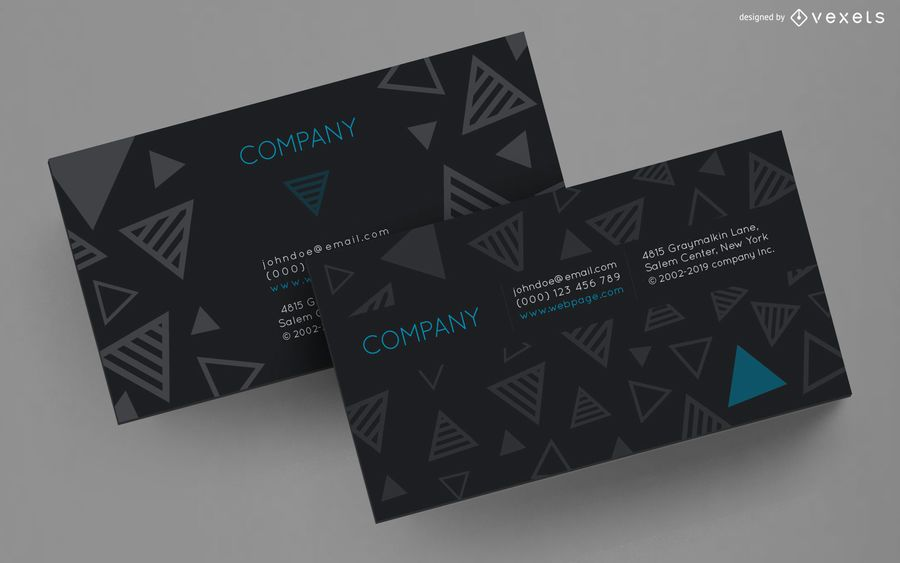 Business card striped triangles design
