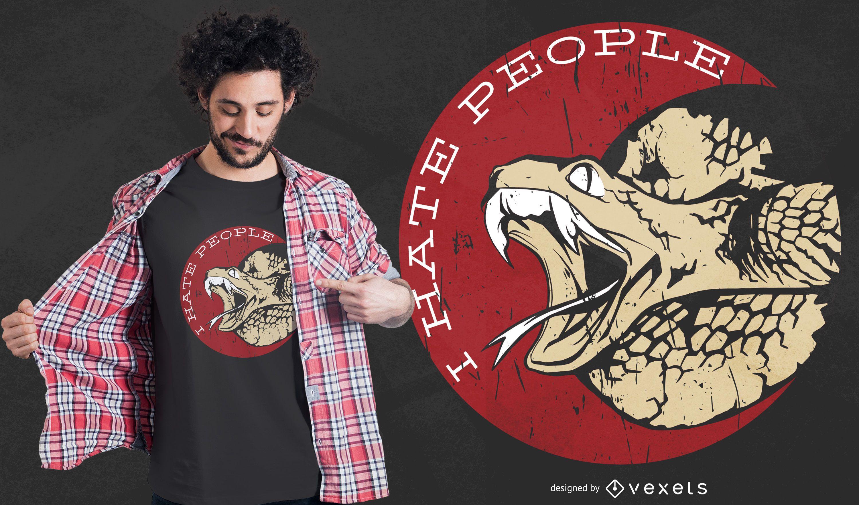 Odeio pessoas design de t-shirt de cobra