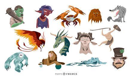 Pacote de monstros e criaturas