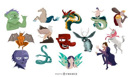 Mythological monsters vector set