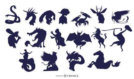 Coleção de silhuetas de criaturas