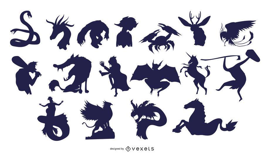 Colección de silueta de criaturas