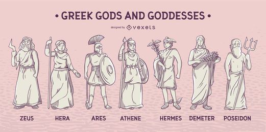Conjunto de deuses e deusas gregos