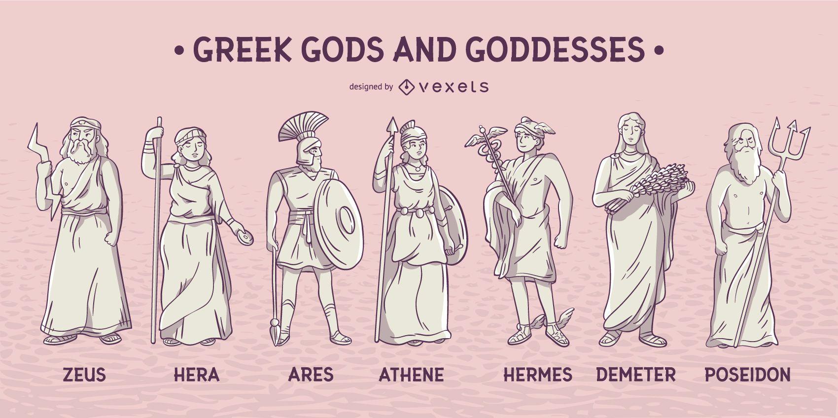 Griechische Götter und Göttinnen gesetzt - Vektor download