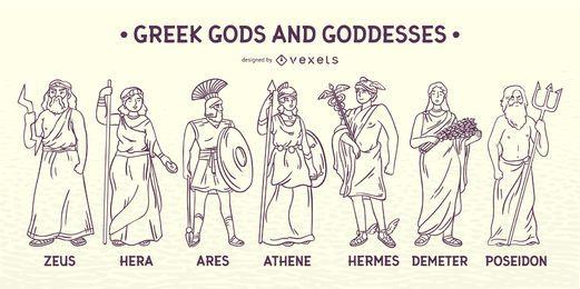 Streicheln Sie griechische Götter und Göttinnen