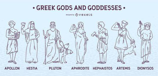Conjunto de trazos de dioses y diosas griegas