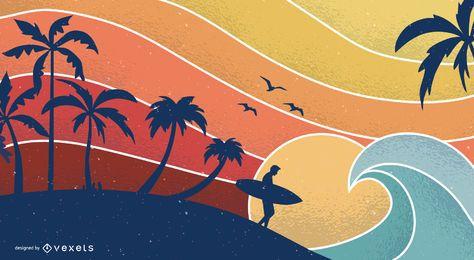 Diseño retro de la ilustración de la puesta del sol