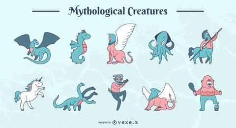 Mythological creatures vector set