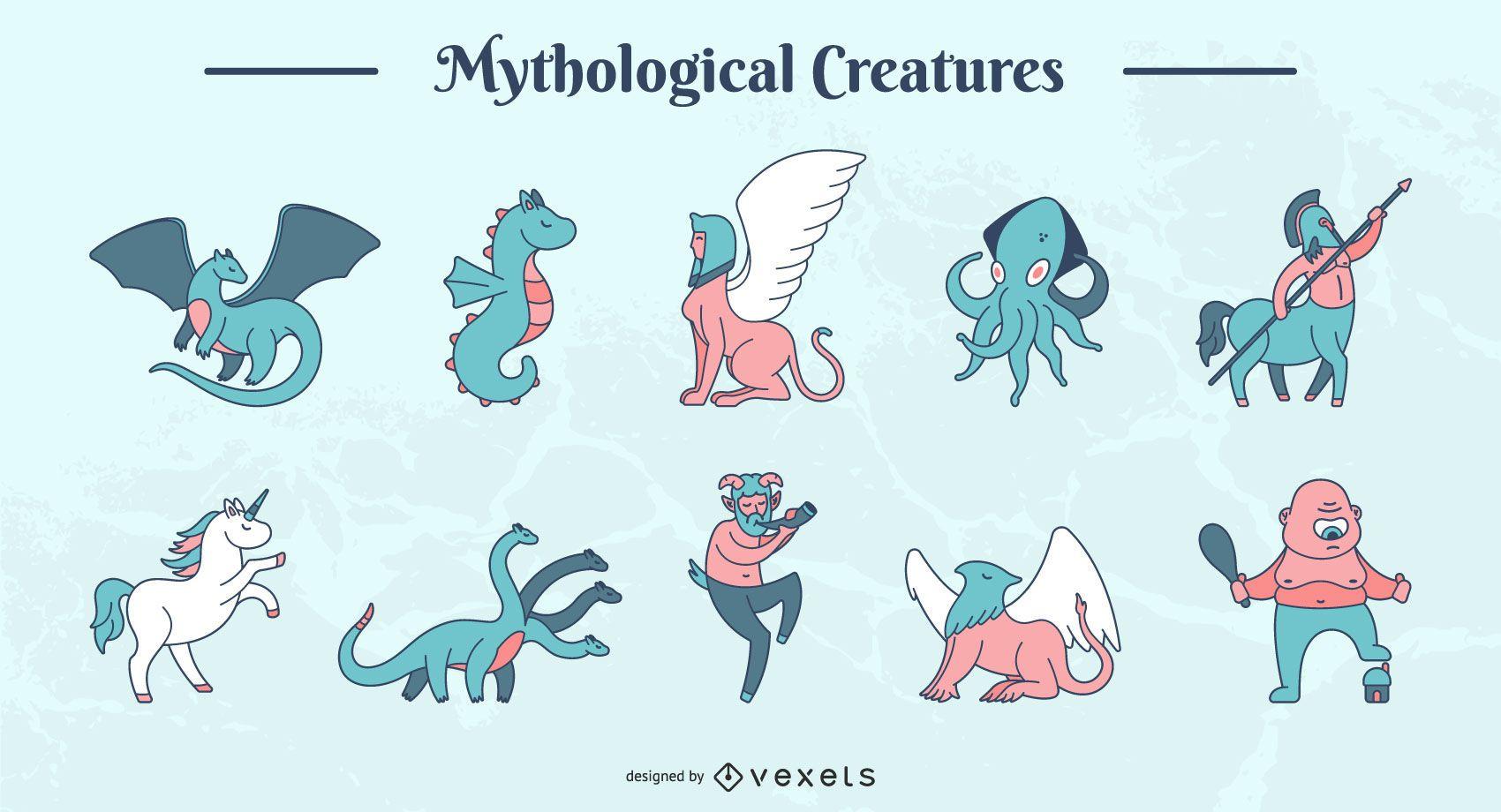 Conjunto de vectores de criaturas mitológicas