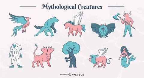 Conjunto de criaturas mitológicas