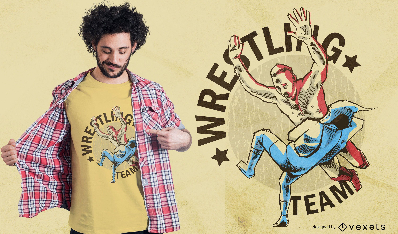 Diseño de camiseta del equipo de lucha libre.