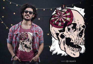 Design de camiseta para alvo de dardos com caveira