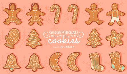 Conjunto de vectores de galletas de jengibre