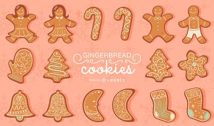 Gingerbread cookies vector set