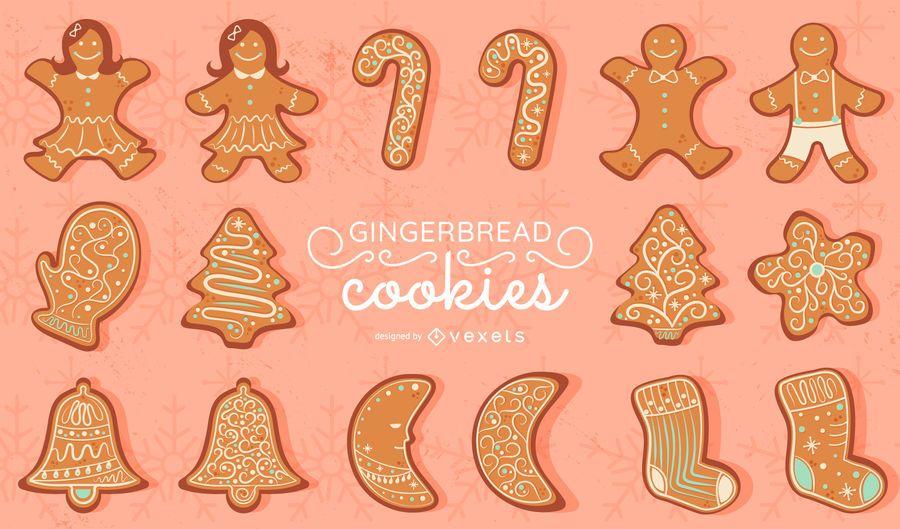 Gingerbread cookies vector set