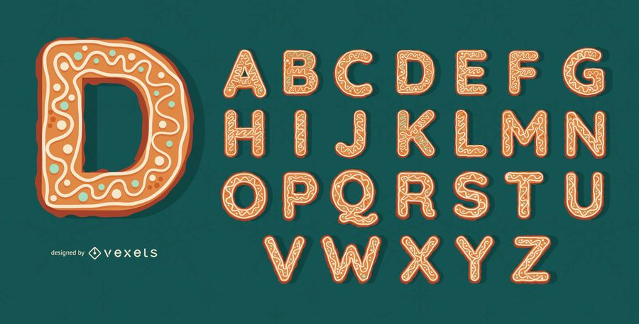 Gingerbread cookies alphabet set