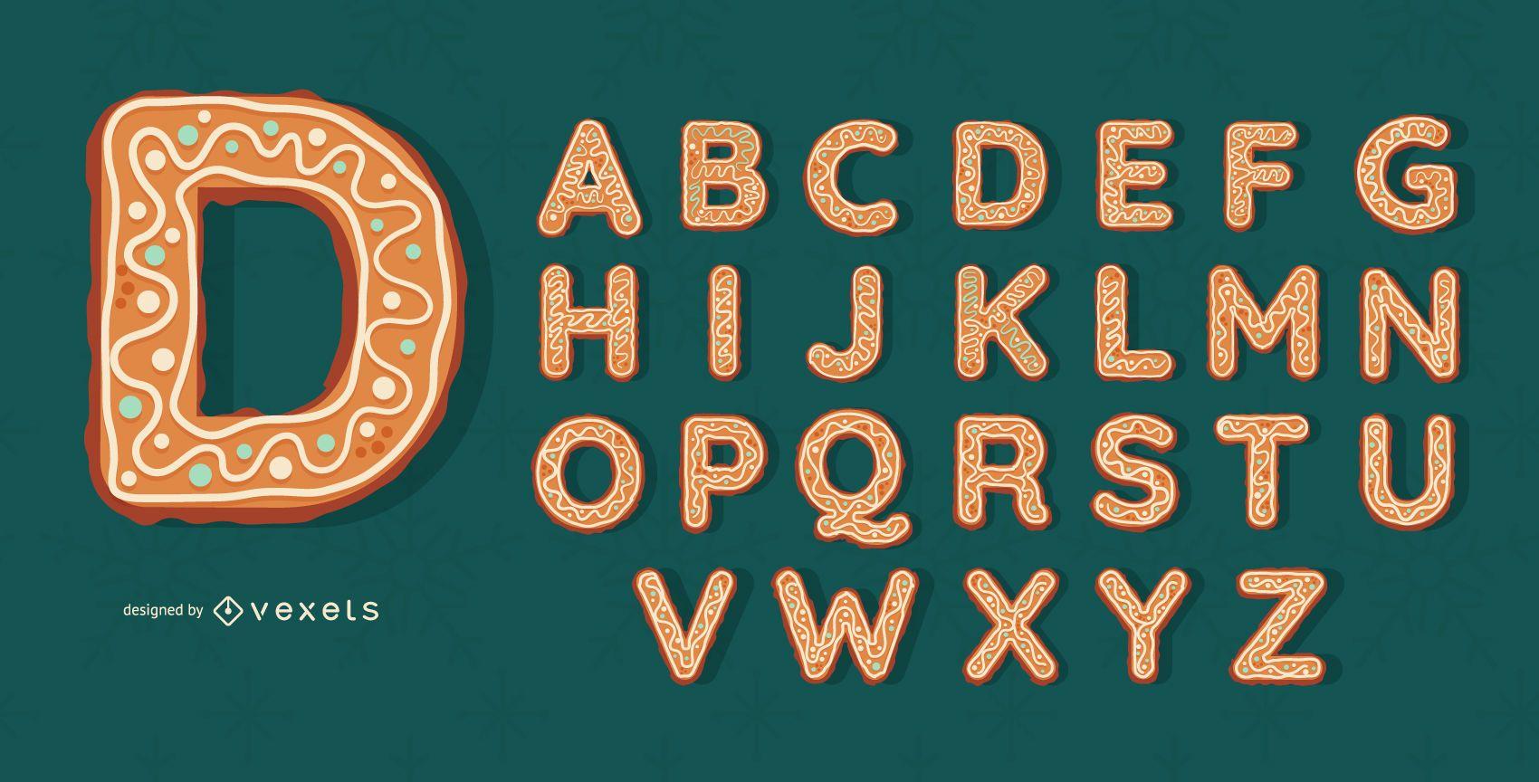 Gingerbread cookies alphabet set