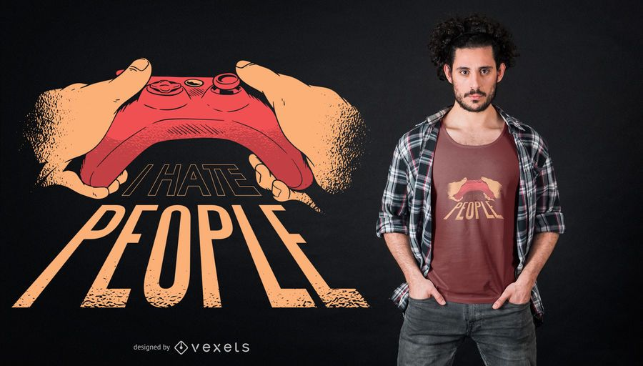 Gamer hate people t-shirt design