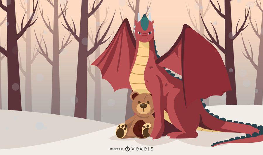 Dragón con peluche