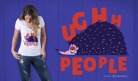 Diseño de camiseta de cita de erizo