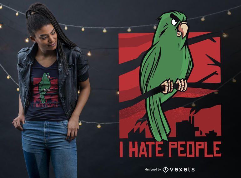Diseño de camiseta Parrot hate people