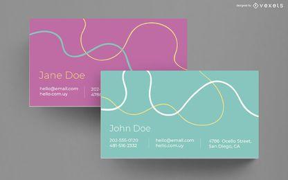Design de cartão de visita de linhas onduladas