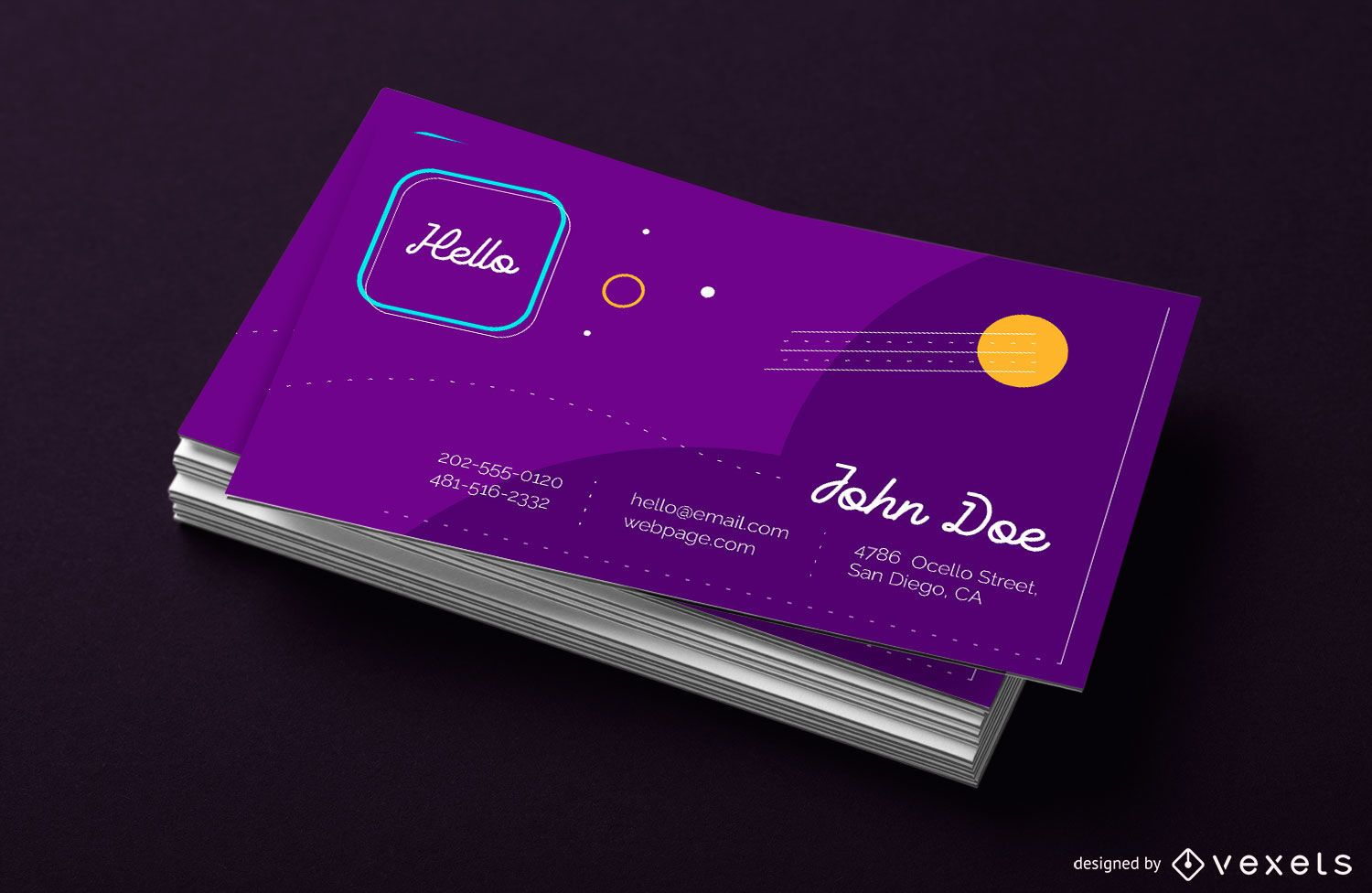 Purple Abstract Design Business Card Template