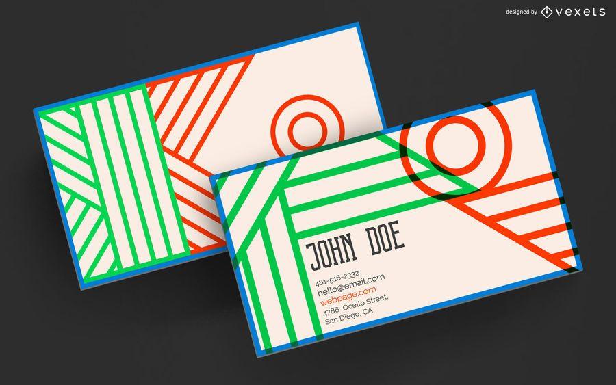 Geometric business card colorful design