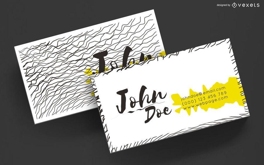 Design de linhas onduladas de cartão de visita