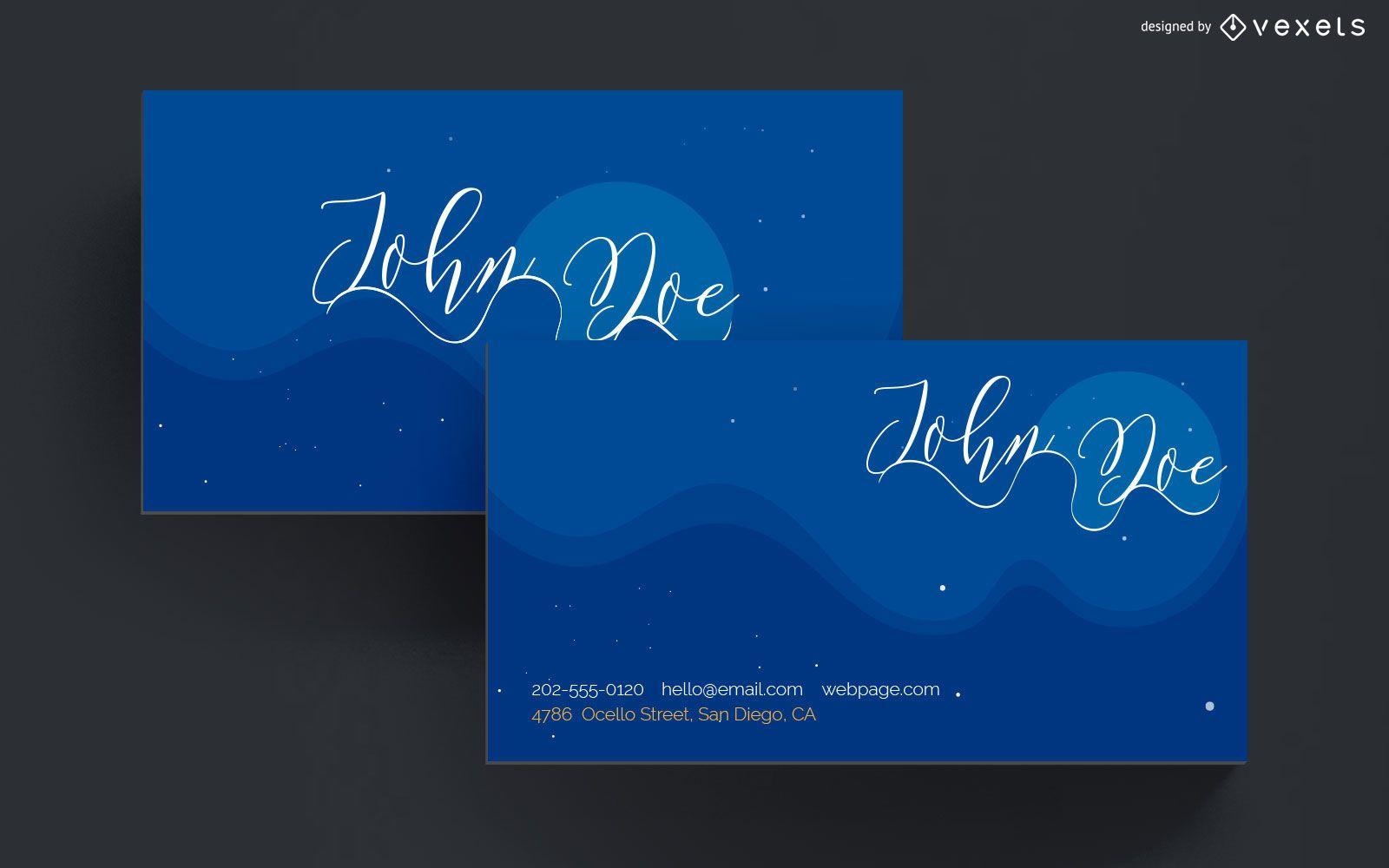 Diseño de cielo nocturno de tarjeta de visita