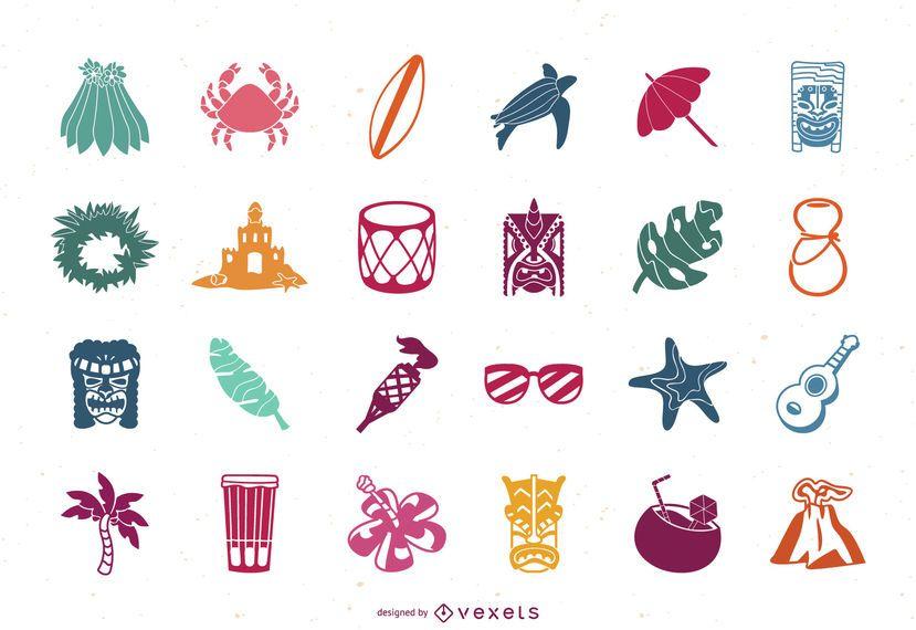 Conjunto de iconos planos de Hawaii