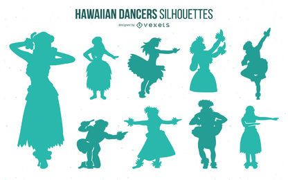 Hawaiian Hula Dancer Silhouette Pack