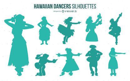 Paquete de silueta de bailarina de hula hawaiana