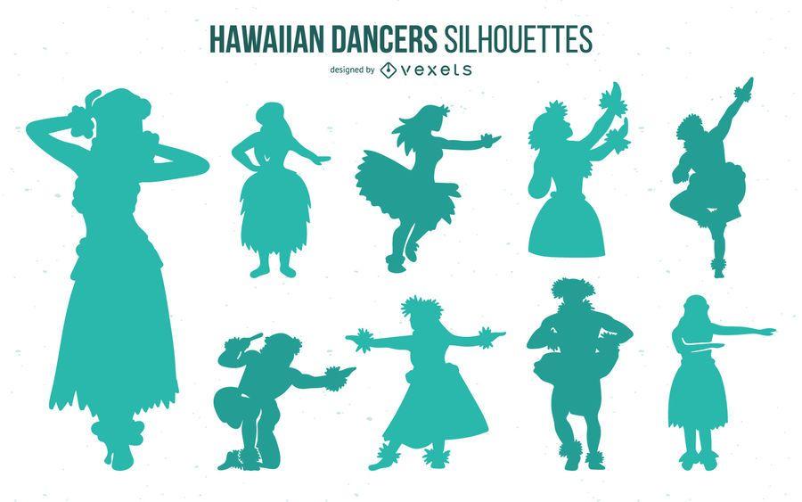 Hawaiian Hula Dancer Silhouette Pack