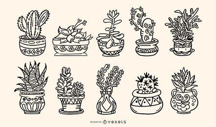 Pacote de ilustração de traços desenhados à mão de plantas suculentas