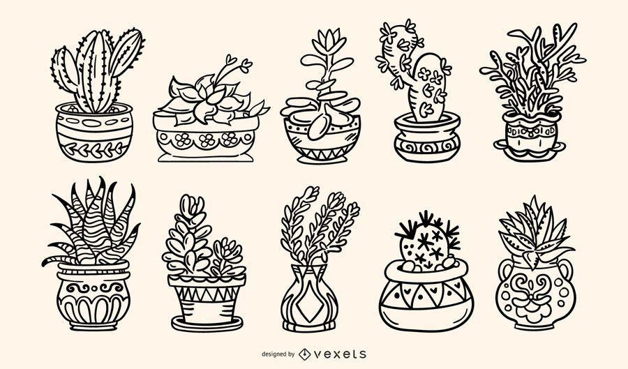 Paquete de ilustraciones de trazos dibujados a mano de plantas suculentas