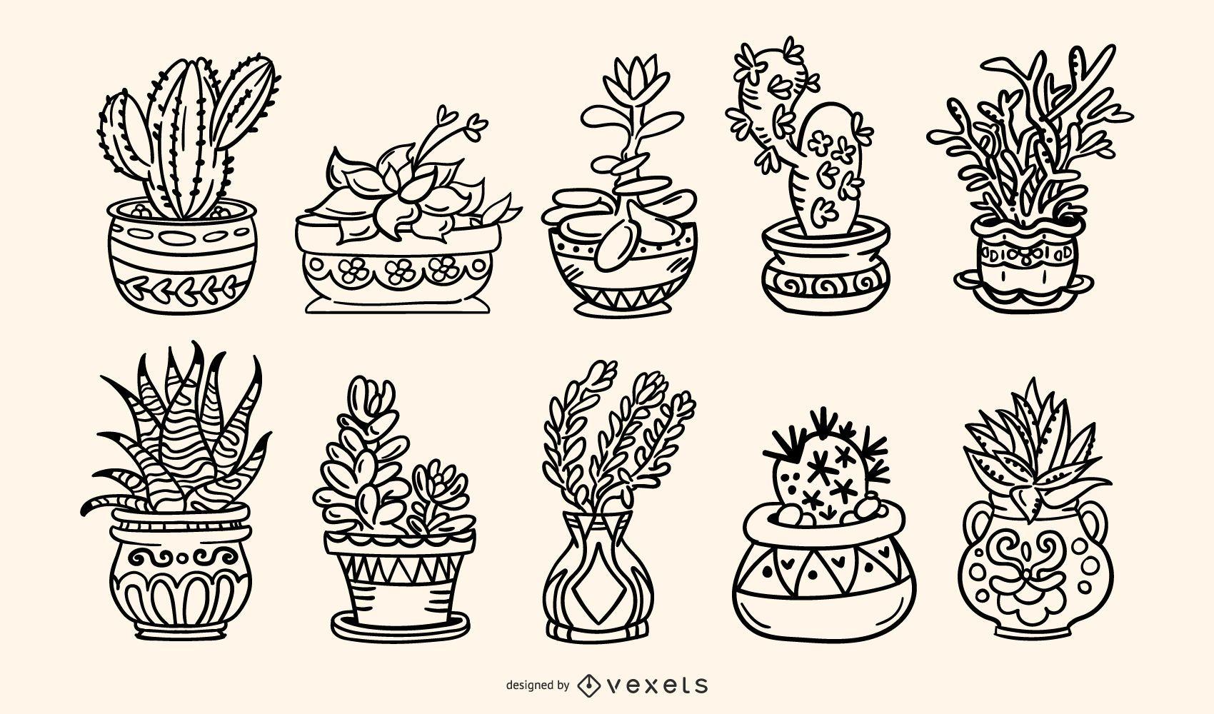 Succulent Plants Handdrawn Stroke Illustration Pack