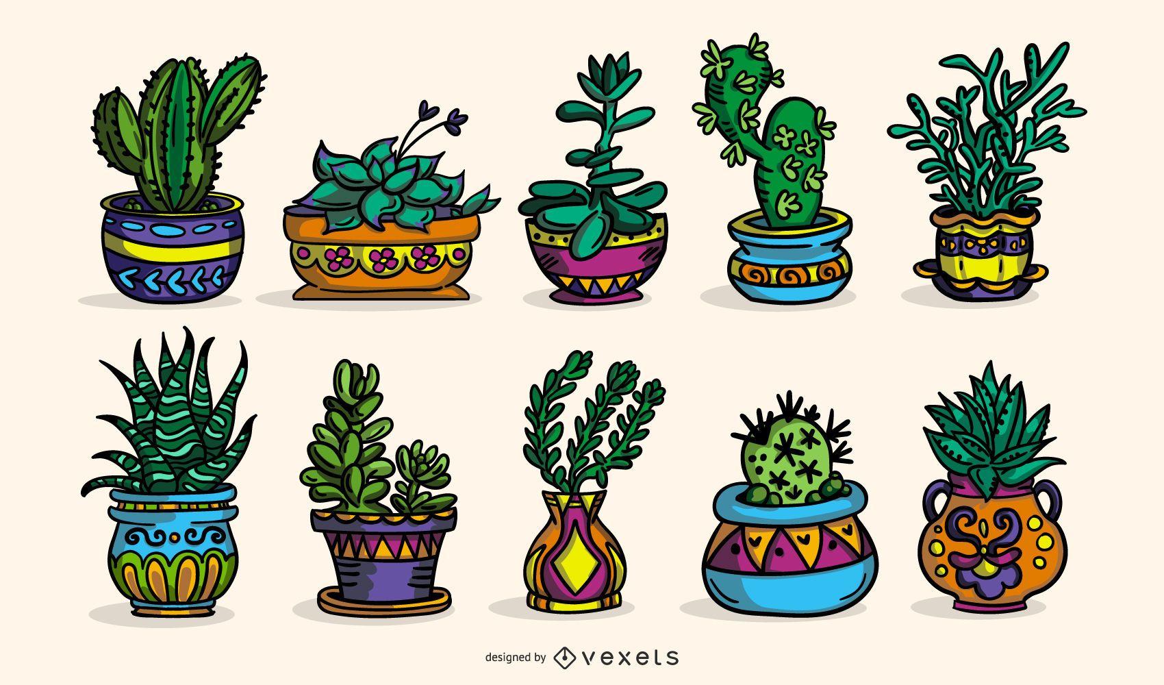 Cole??o de ilustra?es coloridas de plantas suculentas