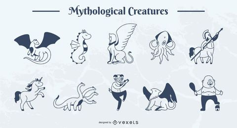 Pacote de ilustração de traço simples de criatura mítica